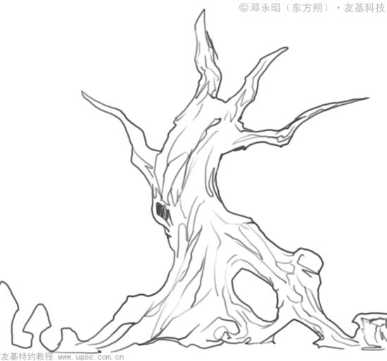 大树场景简笔画步骤