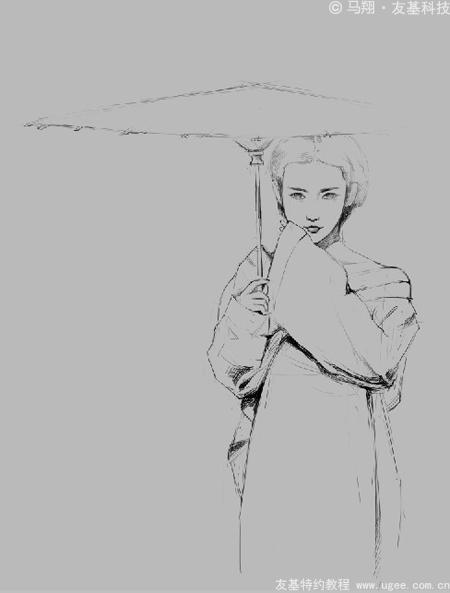 古风人物插画教程《青蛇》(上)-ugee